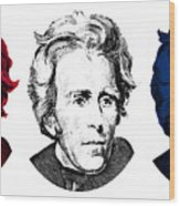 Andrew Jackson Red White And Blue Wood Print