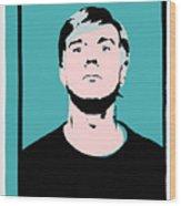 Andy Warhol Self Portrait 1964 On Cyan - High Quality Wood Print