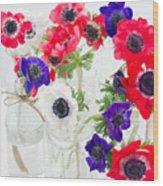 Anemone Flowers  Wood Print