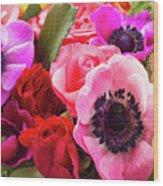 Anemones And Roses Wood Print