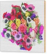 Bouquet Of Anemones Wood Print