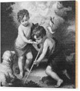 Angel - Angels With White Lamb Wood Print