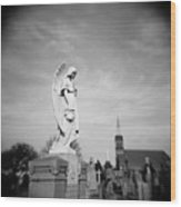 Angel And Church In Calvary Cemetery New York City Wood Print