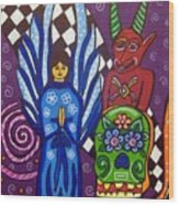 Angel And Devil-day Of The Dead Wood Print