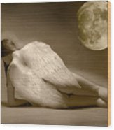 Angel And Moon Wood Print