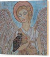 Angel And Owl Wood Print