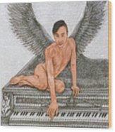 Angel And The Piano Drawing Hnad-drawn Wood Print