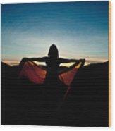 Angel At Sunset Wood Print