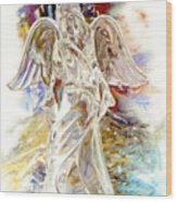 Angel At The Cross Wood Print