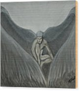 Angel At Twilight - Charcoal - 8 X 12 Wood Print