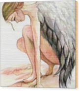 Angel Bowed Wood Print