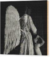 Angel Bw Wood Print