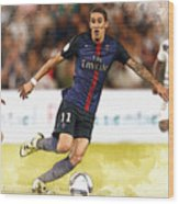 Angel Di Maria Controls The Ball Wood Print
