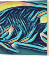 Angel Fish In Turquoise Tones Wood Print