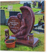 Angel Guarding Grave Hvalsneskirkja Graveyard Iceland Wood Print