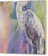 Angel Heron Wood Print