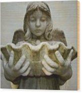 Angel Holding Shell Wood Print