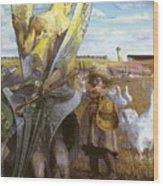 angel i will follow you Jacek Malczewski Wood Print