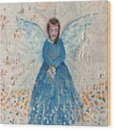 Angel In Blue Wood Print