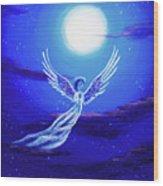 Angel In Blue Starlight Wood Print