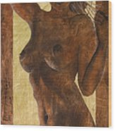 Angel In Gold Wood Print