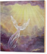 Angel In Mauve Clouds Wood Print