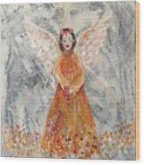Angel In Orange Wood Print