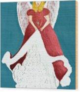 Angel In Red Wood Print