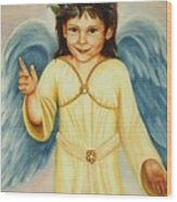 Angel In Yellow Wood Print