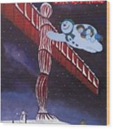 Angel Of The North, Snowman Wood Print