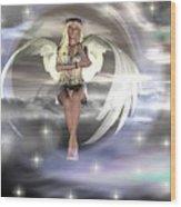 Angel On A Cloud Wood Print