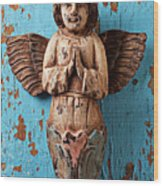 Angel On Blue Wooden Wall Wood Print