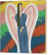Angel On Fire Wood Print