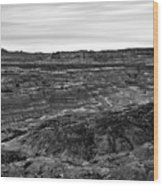 Angel Peak Badlands, Bloomfield, New Mexico, Illuminated By A Cl Wood Print