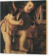 Angel Playing Music Wood Print