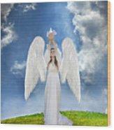 Angel Releasing A Dove Wood Print by Jill Battaglia