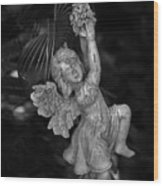 Angel Statue Hanging On Wood Print