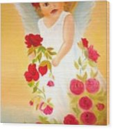 Angel Surrounded By Red Roses Wood Print