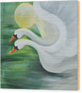 Angel Swans Wood Print