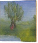 Angel Under Weeping Willow Wood Print
