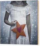 Angel With A Star Wood Print by Joana Kruse