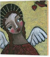 Angel With Bird Of Peace Wood Print