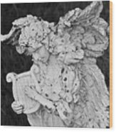 Angel With Harp Wood Print