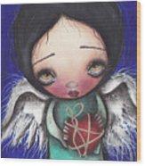 Angel With Heart Wood Print