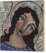 Angel With Purple Eyes Wood Print