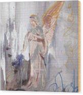 Angel Writing Doodles In Spirit Wood Print