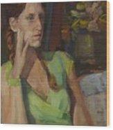 Angela In Green Dress Wood Print