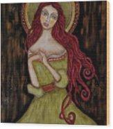 Angela Wood Print by Rain Ririn