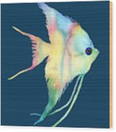 Angelfish I - Solid Background Wood Print