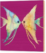 Angelfish Kissing Wood Print